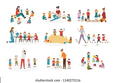 Bundle of preschool or kindergarten activities. Female teacher and children playing guitar and singing songs, reading book, walking, doing gymnastics exercise together. Cartoon vector illustration.