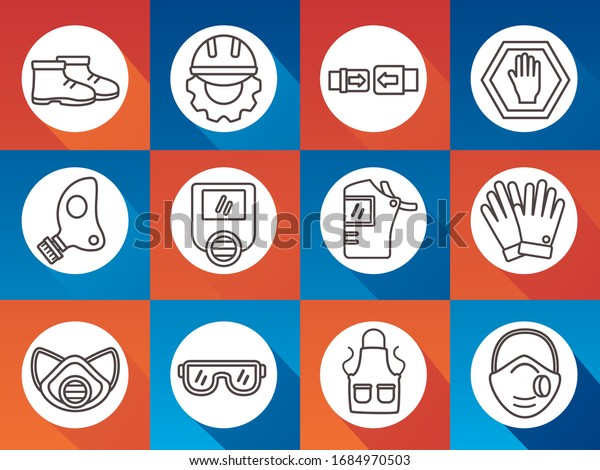 bundle of protection tools set icons vector illustration design