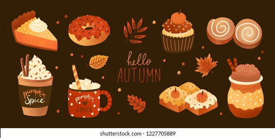 Bundle of pumpkin spice flavored sweet food products and hot drinks isolated on white background. Set of tasty confections or desserts - pie, cake, cookies, roll, donut. Colored vector illustration.