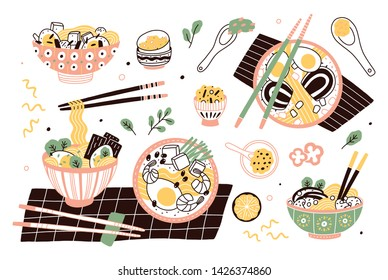 Bundle of ramen in bowls and chopsticks. Set of traditional Chinese or Japanese meal with noodles and broth. Collection of tasty Asian soup or stew, delicious food. Flat cartoon vector illustration.