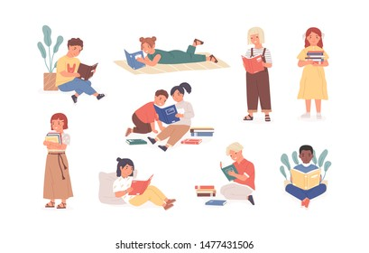 Bundle of reading children or studying kids. Collection of boys and girls with books, readers, young literature fans isolated on white background. Modern flat cartoon colorful vector illustration.