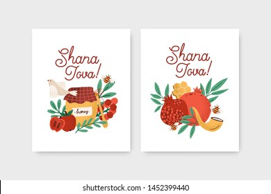 Bundle of Rosh Hashanah flyer or poster templates decorated by shofar horn, honey, apples, pomegranates and leaves. Flat cartoon colorful vector illustration for Jewish religious holiday celebration.