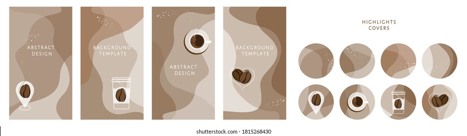 Bundle of round highlight stories covers. Vector layouts kit with coffee take away cup, coffee bean, map pointer, heart, organic shapes, textures. Abstract trendy design for social media marketing ad