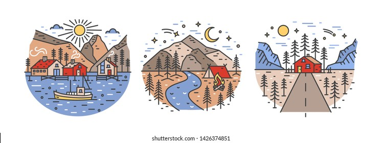 Bundle of round landscapes with mountains, sea and forest trees. Collection of touristic locations for outdoor recreation. Adventure travel set. Colorful vector illustration in lineart style.