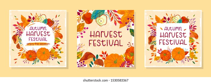 Bundle of seasonal vector autumn illustrations for harvest festival with pumpkins,mushrooms,apples,plants,leaves,berries and floral elements.Agricultural fair.Trendy fall designs.