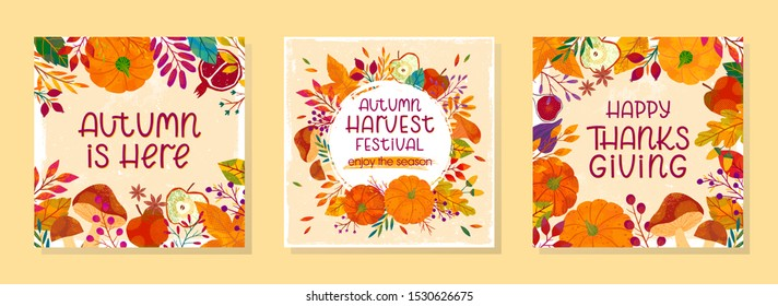 Bundle of seasonal vector autumn illustrations for thanksgiving day and harvest festival with pumpkins,mushrooms,pomegranates,figs,apples,plants,leaves,berries and floral elements.Trendy fall designs.