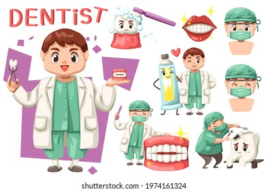 Bundle set of Dentist man with dental care in cartoon character, flat design isolated vector illustration