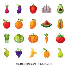 bundle of set fresh fruits and vegetables vector illustration design