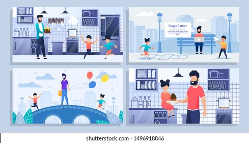 Bundle, Set Landing Web Page Single Father, Kids. Bearded Dad Freelancer, Daughter, Son, Family Activity, Cook Kitchen, Muffins, Cake. Play Park, Bridge, Balloons, Work Remotely. Vector Illustration