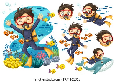 Bundle set of Young man in suit scuba diver with mask dives under the sea, Vector cartoon illustration of underwater landscape with ruins, stones, fishes and riding whale in diving suit with aqualung