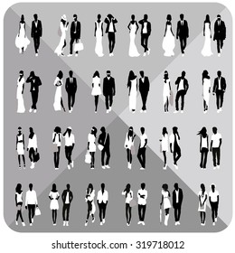 Bundle of silhouettes.Business silhouettes and fashion silhouettes.Group of people silhouettes.Editable.Vector eps.