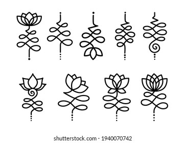 Bundle of simple outline Unalome Lotus. Black Flowers isolated on white background. Sacred Buddhist Floral Symbol. Yoga Studio Logo Design. Tattoo design. Hindu style. Vector illustration