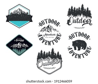 bundle of six outdoor adventure letterings emblems vector illustration design