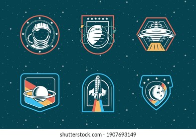 bundle of six space patches set icons in blue background vector illustration design