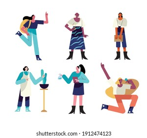 bundle of six women different professions characters vector illustration design