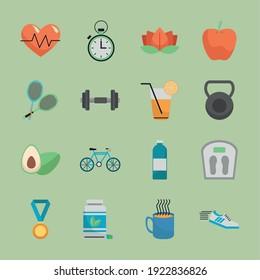 bundle of sixteen healthy lifestyle set icons vector illustration design