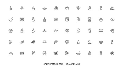 bundle of spa line style icons vector illustration design