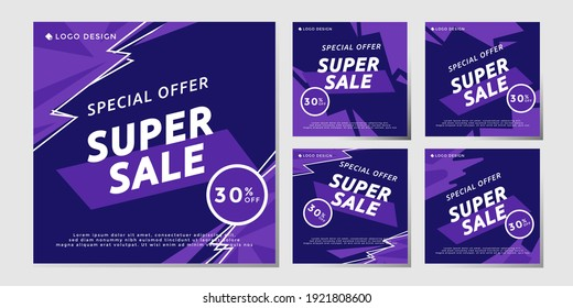 Bundle special offer, super sale up to 30%, social media post template, vector eps 10 marketing design.