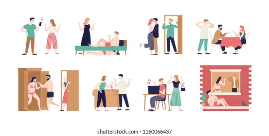 Bundle of spouses or romantic partners during conflict related to betrayal. Set of husband and wife cheating with their mistress and lover. Unhappy marriage, love triangle. Flat vector illustration.