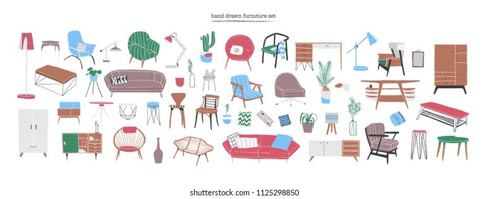 Bundle of stylish and comfy modern furniture, furnishings and home interior decorations of trendy Scandinavian or hygge style isolated on white background. Colorful hand drawn vector illustration.
