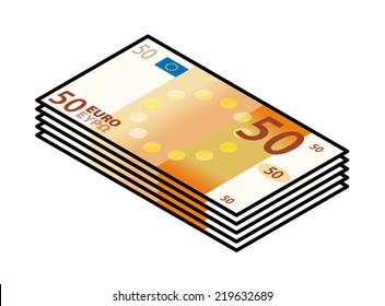 A bundle of stylized iconic colourful 50 Euro bank notes / paper money.