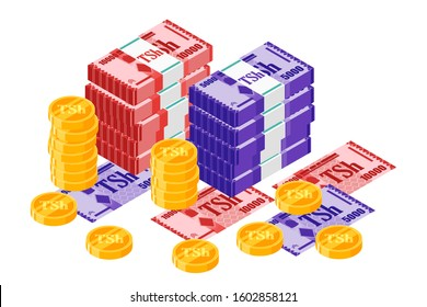 Bundle of Tanzanian Shilling banknotes money and gold coin vector isometric design. Tanzania currency, business, finance and Payment element. Can be used for web, mobile, infographic, and print.