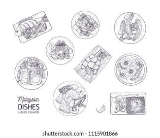 Bundle of tasty meals of Malaysian cuisine. Set of delicious spicy Asian restaurant dishes lying on plates hand drawn with contour lines on white background. Monochrome realistic vector illustration.