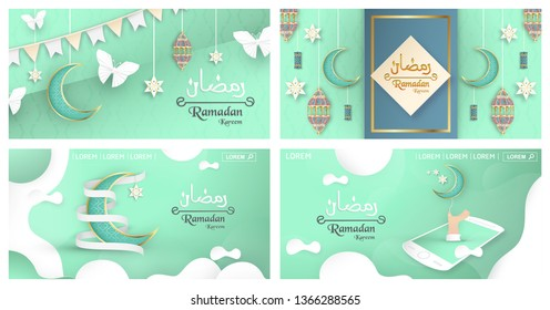 Bundle template for Ramadan Kareem with green and gold color. 3D Vector design in paper cut and craft  for islamic greeting card, invitation, book cover, brochure, web banner, advertisement.