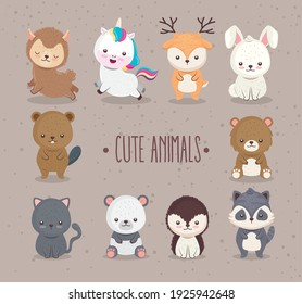 bundle of ten cute animals set icons and lettering vector illustration design
