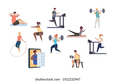 bundle of ten persons practicing fitness sports characters vector illustration design