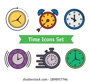 bundle of ten time set line and fill style icons and lettering in ribbon vector illustration design