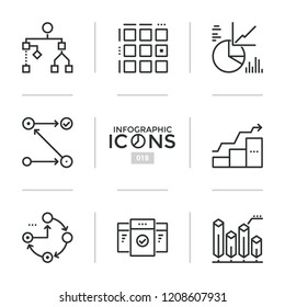 Bundle of thin line pictograms or symbols - flowchart, cyclical diagram, square matrix and comparison chart. Modern vector illustration for statistical or financial analysis, business analytics.