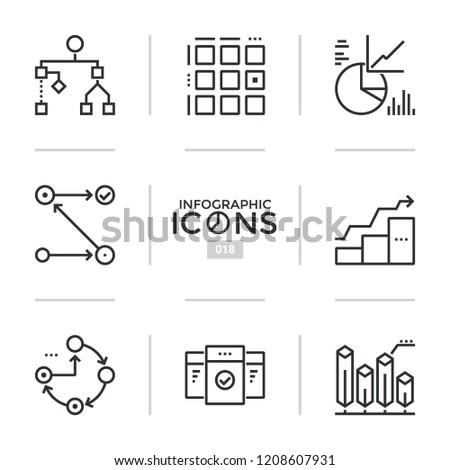 Bundle Thin Line Pictograms Symbols Flowchart Stock Vector Royalty