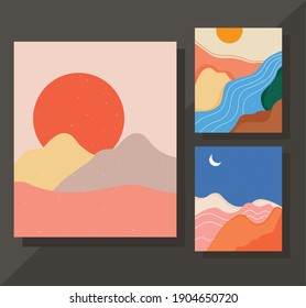 bundle of three abstract landscapes colorful scenes vector illustration design