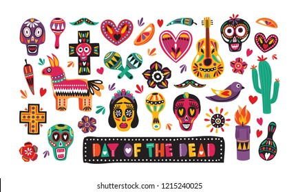 Bundle of traditional Day of The Dead decorations isolated on white background - Mexican sugar skulls, Catrina's face, pepper, pinata, cross, candle, maracas, guitar. Holiday vector illustration.