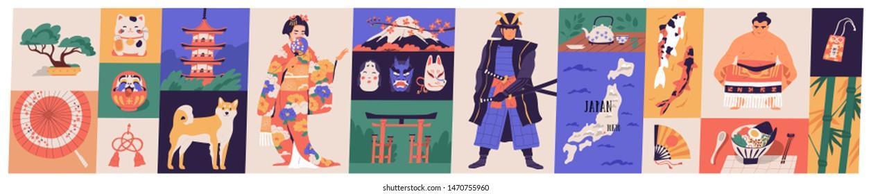 Bundle of traditional symbols of Japan - pagoda, geisha in kimono, koi fish, wagasa umbrella, bonsai tree, mount Fuji, maneki-neko. Set of Japanese design elements. Flat cartoon vector illustration.