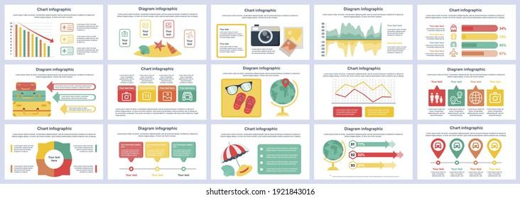 Bundle travel vacation infographics presentation slides template. Different charts, diagram, workflow, flowchart, timeline, schemes, graphs design template. Vector info graphic and infographics set.