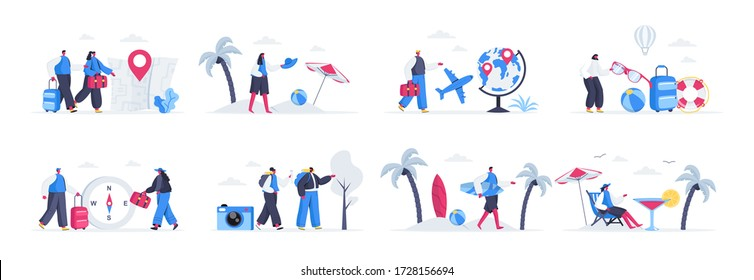Bundle of travel and vacation scenes. Tourists world traveling, couple with luggage, tropical vacation on beach flat vector illustration. Bundle of summer holidays with people characters in situations