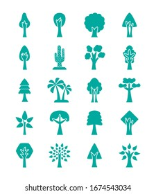 bundle of trees silhouette style icons vector illustration design