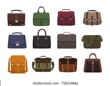 Bundle of trendy men's handbags - cross body, satchel, messenger, holdall bags, suitcase. Modern leather accessories of different types isolated on white background. Colorful vector illustration.