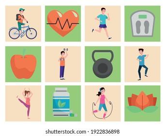 bundle of twenty healthy lifestyle set icons vector illustration design