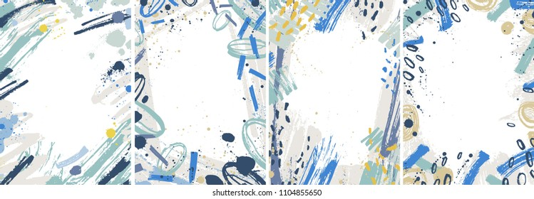 Bundle of vertical backgrounds with abstract colorful paint traces, stains, blots. Collection of card templates decorated with brush strokes. Set of artistic frames. Modern vector illustration.