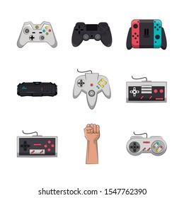 bundle of video game controls vector illustration design