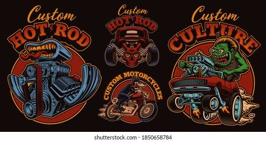 A bundle of vintage illustrations for hot rod theme, these designs can be used as perfect shirt prints as well as for other uses.