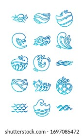 bundle of waves ocean set icons vector illustration design