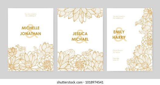 Bundle of wedding invitation card templates decorated with beautiful blooming lotus flowers, buds and leaves hand drawn with golden contour lines on white background. Natural vector illustration.
