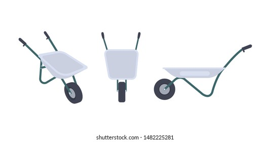 Bundle of wheelbarrows isolated on white background. Front and side views. Modern gardening tool or agricultural implement used in horticulture and plant cultivation. Flat cartoon vector illustration.