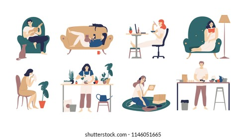 Bundle of young men and women spending weekend at home - playing guitar, eating sushi, reading books, surfing internet, listening to music, cooking. Colored vector illustration in flat cartoon style