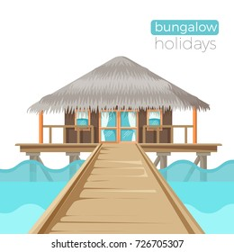 Bungalow holidays advertisement poster with cottage house on water