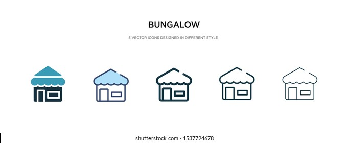 bungalow icon in different style vector illustration. two colored and black bungalow vector icons designed in filled, outline, line and stroke style can be used for web, mobile, ui